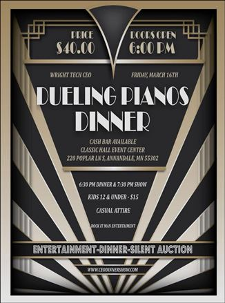 Dueling Pianos Dinner to Raise Money for Youth Business in Wright County